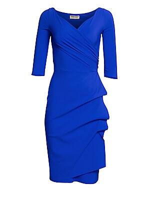 ee3fbdc6 Blue CHIARA BONI LA PETITE ROBE Florian Side Ruffle Dress - Blue Klein -  Size 44 (US 8) 0 (Xxs) Or Smaller on COOLS
