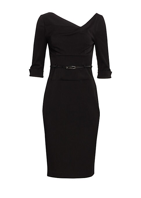 Image of A subtle update to the brand's signature design, this fine gabardine sheath dress is tailored in a sophisticated, three-quarter sleeve silhouette with fitted and figure-flattering appeal. Asymmetrical draped neckline. Three-quarter length sleeves. Vented