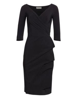 Florian Ruffled V-Neck Sheath Dress plus size,  plus size fashion plus size appare