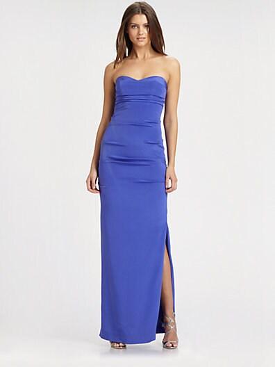 Nicole Miller Strapless Silk Gown   Cobalt