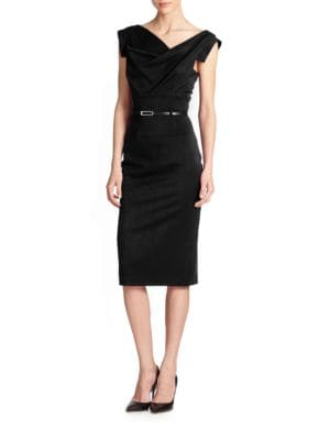 BLACK HALO Jackie O Belted Sheath In Stretch Gabardine in Black
