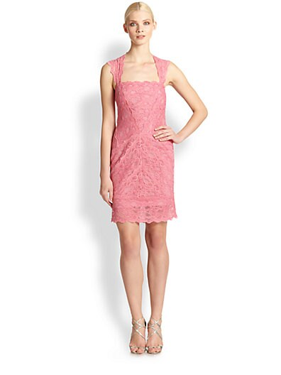 Nicole Miller Eva Stretch Lace Dress   Pink