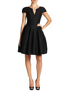 Halston Heritage Women's Cap-Sleeve Sateen Dress - Black - Size 10