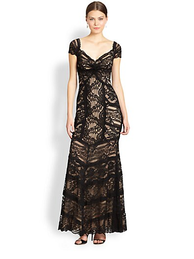 Nicole Miller Lace Sweetheart Gown   Black Nude
