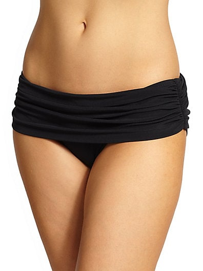 Bill Ruched Super Low-Rise Bikini Bottom, Black