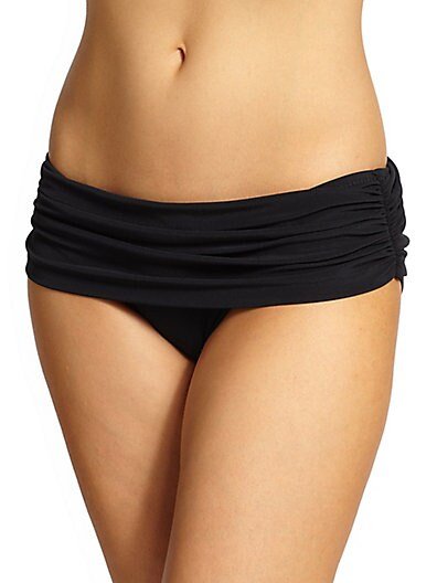 Bill Ruched Super Low-Rise Bikini Bottom in Black from Saks Off 5TH