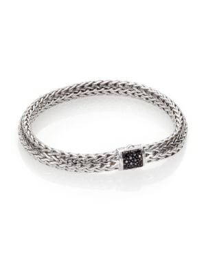 Image of From the Classic Chain Collection. A John Hardy signature design, of strands of sterling silver woven to shape an intricate chain bracelet, accented with a clasp of rich black sapphire pave. .Black sapphire. Sterling silver. Width, 7.5mm. Push-lock clasp.