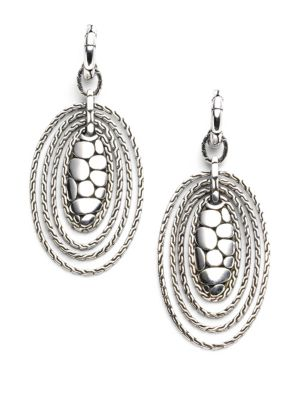 John Hardy Accessories Sterling Silver Oval Drop Earrings