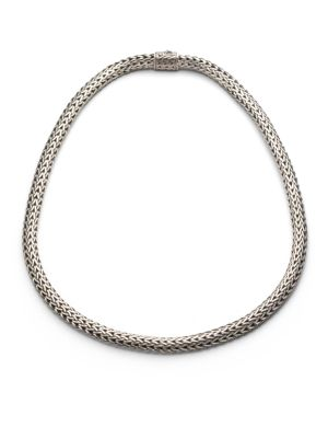 """Image of From the Classic Chain Collection. An intricately woven yet elegantly simple strand of sterling silver reflects Hardy's signature style. .Sterling silver. Length, 16"""".Width, 6.5mm. Push-lock clasp. Imported."""