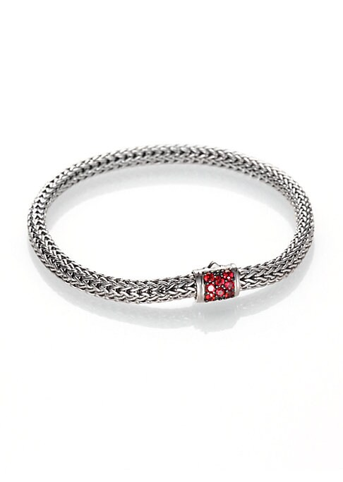 "Image of From the Classic Chain Collection. Bold red sapphires accent this signature bracelet, intricately woven of sterling silver. Red sapphire. Sterling silver. Length, 7"".Width, 5mm. Push-lock clasp. Imported."