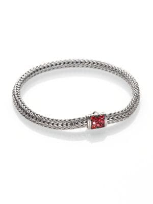 """Image of From the Classic Chain Collection. Bold red sapphires accent this signature bracelet, intricately woven of sterling silver. Red sapphire. Sterling silver. Length, 7"""".Width, 5mm. Push-lock clasp. Imported."""