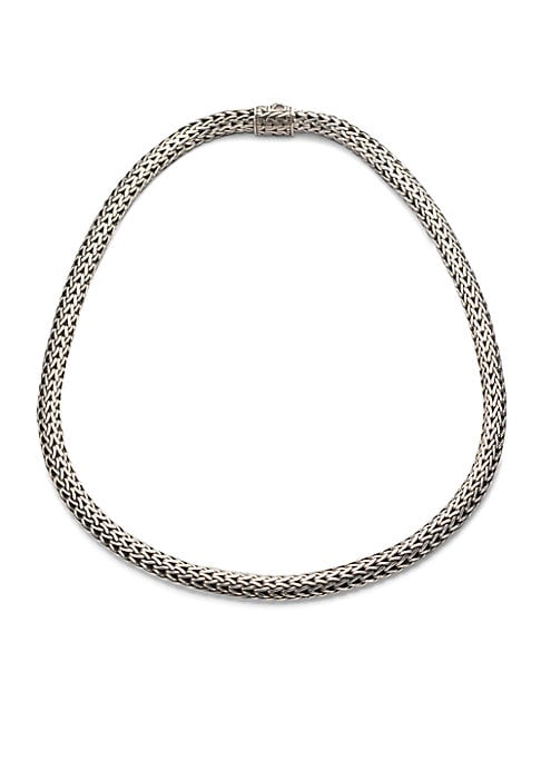 "Image of From the Classic Chain Collection. An intricately woven yet elegantly simple strand of sterling silver reflects Hardy's signature style. .Sterling silver. Length, 18"".Width, 6.5mm. Push-lock clasp. Imported."