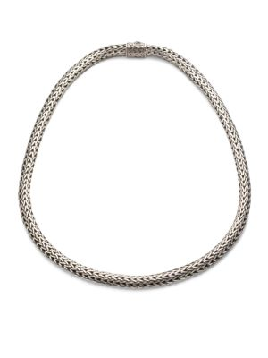 """Image of From the Classic Chain Collection. An intricately woven yet elegantly simple strand of sterling silver reflects Hardy's signature style. .Sterling silver. Length, 18"""".Width, 6.5mm. Push-lock clasp. Imported."""