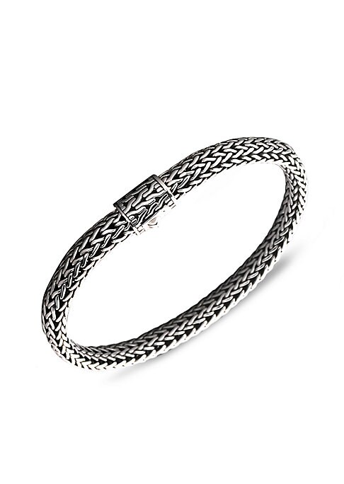 "Image of From the Classic Chain Collection. John Hardy's signature chain bracelet, intricately woven of sterling silver, secures with a barrel clasp of matching engraved design. Sterling silver. Length, 7.5"".Width, 6.5mm. Push-lock clasp. Imported."