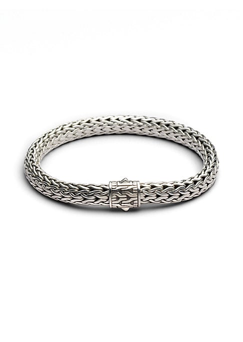 "Image of From the Classic Chain Collection. John Hardy's signature chain bracelet, intricately woven of sterling silver, secures with a barrel clasp of matching engraved design. Sterling silver. Push-lock clasp. Imported. SIZE. Small size: 6.7""L x 2.75""D.Medium si"
