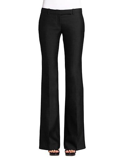 Grain De Poudre Wool Flared Pants, Black