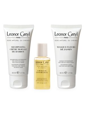 Luxury Travel Kit - Huile de Leonor Greyl,  Shampooing Moelle de Bambou,  Masque Fleurs de Jasmin