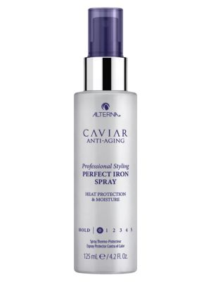 Image of An iron spray that protects hair from hot tools up to 450? F/232? C. The ultimate protection against hot tools, Caviar Perfect Iron Spray protects each strand up to 450? F/232? C. This heat-activated spray locks in moisture, sealing and smoothing the hair