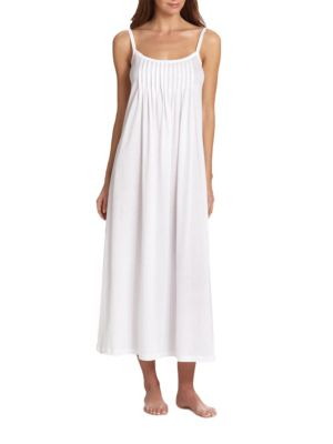 Hanro Juliet Pleated Long Spaghetti Gown In White