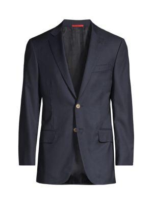 Isaia Men's Basic Wool Blazer In Blue