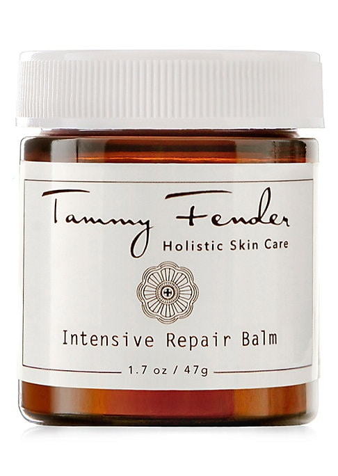 Image of WHAT IT IS. An intensively hydrating moisturizer blending the most powerful regeneratives in the botanical world. Created to treat damaged skin, and beneficial to all skin types. Made in USA. WHAT IT DOES. Tammy Fender formulated Intensive Repair Balm to