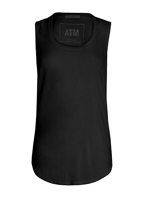 "Image of Streamline your off-duty look with this soft tank, finished with a classically-cool hem. Scoopneck. Sleeveless. Curved hem. Pullover style. About 30"" from shoulder to hem. Modal. Hand wash. Imported. Model shown is 5'10"" (177cm) wearing size Small."