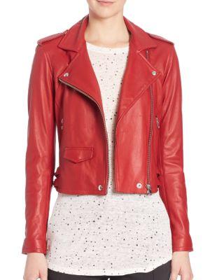 Ashville Leather Moto Jacket, Red