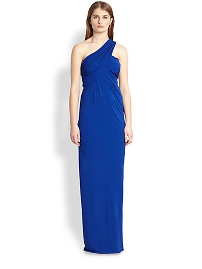 Cut25 by Yigal Azrouel One Shoulder Stretch Jersey Gown   Royal Blue