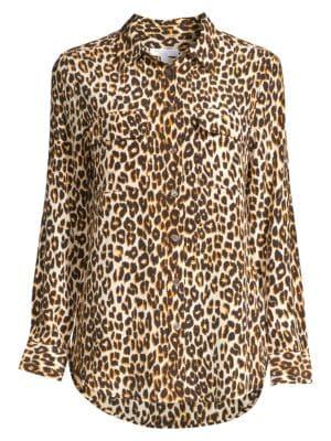 Slim Signature Silk Leopard-Print Shirt by Equipment