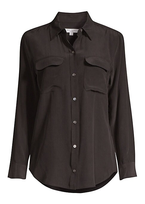 Image of Subscribe to the front row-approved classic style of Equipment's shirts with this beautifully hued version, a demonstration of the brand's soft, fluid silk and sophisticated cuts. Point collar. Button front. Long sleeves. Button cuffs. Front flap patch po