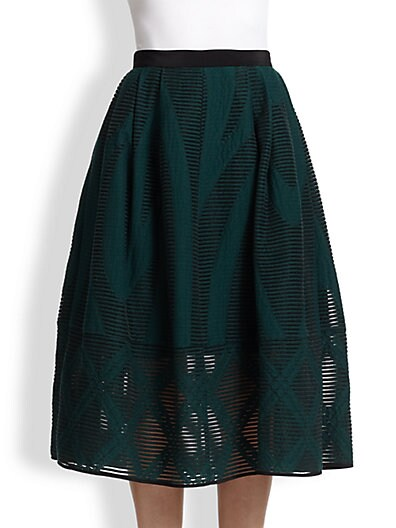 Abstract-Patterned Sheer Burnout Midi Skirt