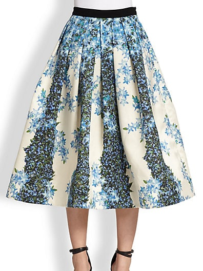 Floral-Print Pleated Silk Skirt