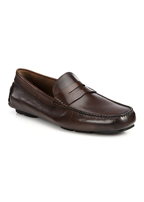 Image of Modern sophistication is exemplified in this smart penny driver, crafted from superior Italian leather. Leather upper. Leather lining. Rubber sole. Padded insole. Made in Italy.