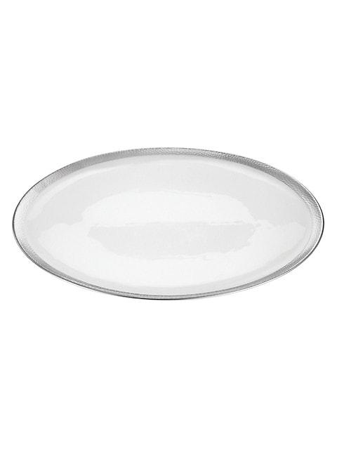 Silversmith Platinum-Trim Porcelain Serving Platter