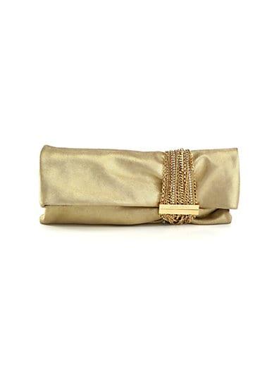 Chandra Chain & Rhinestone Embellished Metallic Leather Clutch, Gold