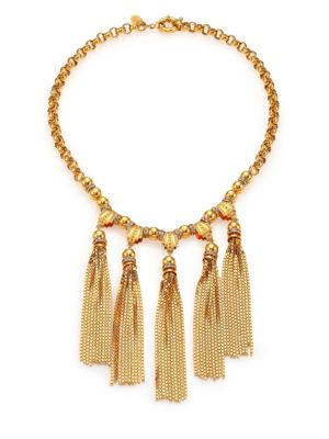 HOUSE OF LAVANDE Sunset Crystal Tiered Tassel Necklace in Gold