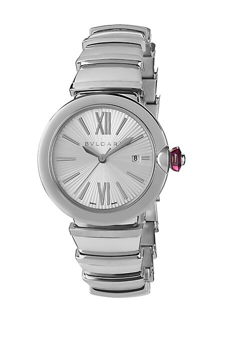 Image of From the LVCEA Collection. Elegant bracelet watch in polished stainless steel. Mechanical movement with automatic winding. Stainless steel bezel. Silver opaline dial with guilloche soleil treatment. Roman numeral and bar hour markers. Date display at 3 o'