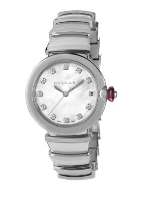 BVLGARI Lvcea Stainless Steel, Mother-Of-Pearl & Diamond Bracelet Watch in Silver