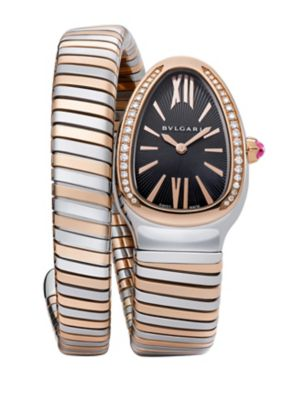 """Image of From the Serpenti Collection. Coiled watch with rose gold accents and diamond bezel. Quartz movement. Water resistant to 3 ATM. Curved stainless steel case, 35mm (1.4"""").18k rose gold bezel with diamonds, 0.29 tcw. Black opaline dial with guilloche border."""
