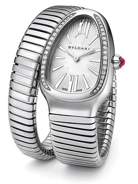 Serpenti Tubogas Stainless Steel & Diamond Single Twist Watch