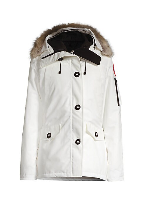 Image of A little shorter and streamlined for a more updated look, a hooded Canada Goose parka richly trimmed in fluffy fur. Thermal experience index: fundamental warmth, 15?F to -5?F.Adjustable hood with removable fur trim. Long sleeves. Front zip with button clo