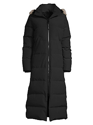 Image of A fur-trimmed, full-length down design featuring classic Canada Goose details and calf-skimming silhouette. Removable fur trim Removable hood with grip tape closure Long sleeves Two-way front zip Angled welt pockets Thermal experience index: extreme warmt