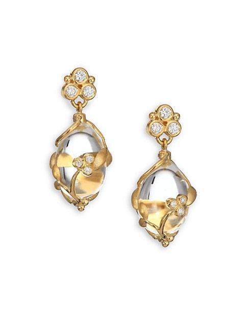 Tree of Life Rock Crystal, Diamond & 18K Yellow Gold Vine Amulet Drop Earrings