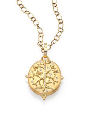 18K Yellow Gold Tree Of Life Locket With Diamonds