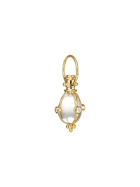 Classic Rock Crystal, Diamond & 18K Yellow Gold Amulet