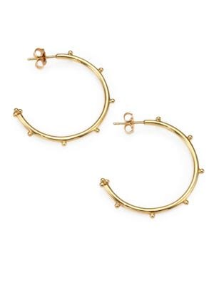"""TEMPLE ST. CLAIR 18K Yellow Gold Granulated Hoop Earrings/1.25"""""""