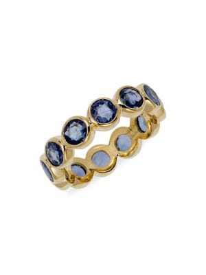 9b58aa6c7 TEMPLE ST. CLAIR Classic Color Mixed Sapphire & 18K Yellow Gold Eternity  Band Ring in