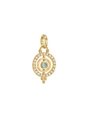 Temple St Clair Royal Blue Moonstone Amp 18k Gold Dual Ring Pendant