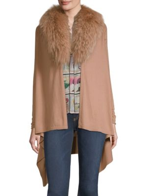 Izzy Wool-Cashmere Duster Cardigan W/ Fur Collar, Rose Tan
