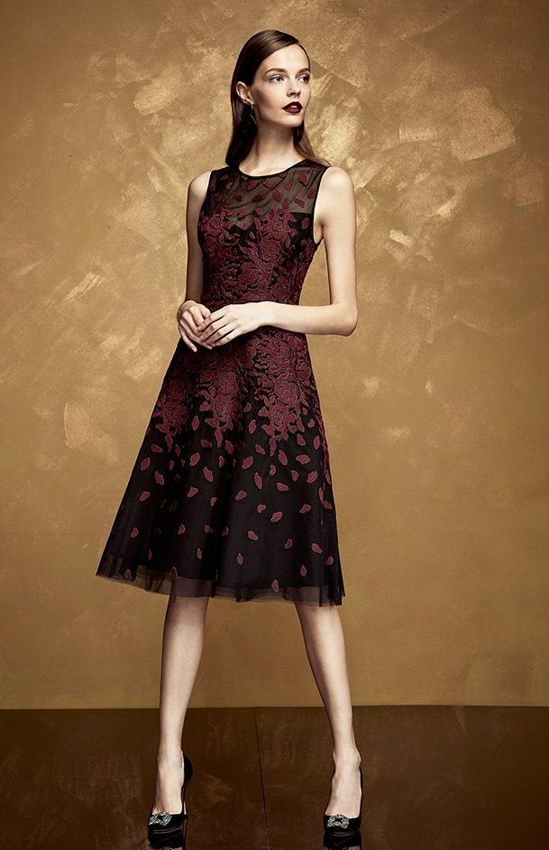 1445339ebd Bcbgmaxazria red sleeveless dress with black overlay and applique at  saks.com.